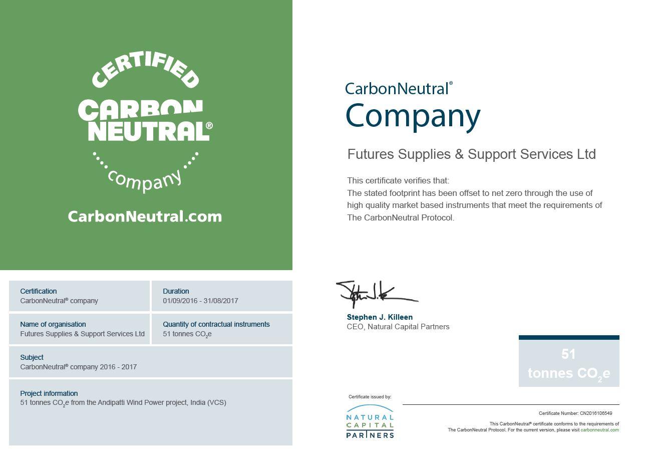 CarbonNeutral Certificate 2016