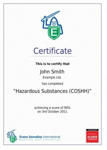Evans COSHH Training